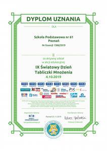 certificate tabliczka mnozenia